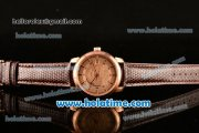 Vacheron Constantin Patrimony Miyota 9015 Automatic Rose Gold Case with Champagne Dial and Brown Leather Strap
