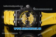 Audemars Piguet Royal Oak Offshore Diver Chronograph Clone AP Calibre 3126 Automatic PVD Case Yellow Dial Yellow Rubber Strap and Stick Markers (EF)