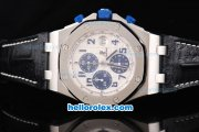 Audemars Piguet Royal Oak Navy Chronograph Swiss Valjoux 7750 Automatic Movement White Grid Dial with Blue Number Markers