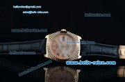 Rolex Sky-Dweller Asia 2813 Automatic Rose Gold Case with Black Leather Strap and Pink Dial Numberal Markers