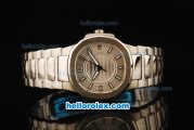 Patek Philippe Nautilus Swiss Quartz Movement Full Steel with Silver Dial and Stick/Arabic Numeral Markers