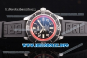 Breitling Superocean 42 Swiss ETA 2824 Automatic Steel Case with Black Dial and Arabic Numeral Markers - Red Inner Bezel