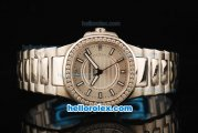 Patek Philippe Nautilus Swiss Quartz Movement Full Steel with Silver Dial and Diamond Bezel