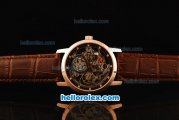 Vacheron Constantin Patrimony Skeleton Automatic Movement Rose Gold Case with Rose Gold Bezel and Brown Leather Strap