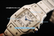 Cartier Santos 100 Miyota Quartz Movement Full Steel with White Dial and Black Roman Numerals-Lady Model