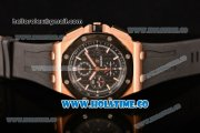 Audemars Piguet Royal Oak Offshore Chrono Clone AP Calibre 3126 Automatic Rose Gold Case with Black Dial PVD Bezel and White Stick Markers (EF)