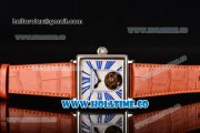 Minorva Swiss Tourbillon Manual Winding Steel Case with White Dial Orange Leather Strap and Blue Roman Numeral Markers