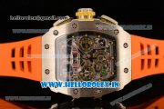 Richard Mille RM11-03 Swiss Valjoux 7750 Automatic Steel Case Skeleton Dial With Arabic Numeral Markers Orange Rubber Strap(KV)
