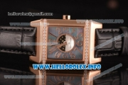 Jaeger-LeCoultre Reverso Squadra Miyota Quartz Rose Gold Case with Black MOP Dial Arabic Numeral Markers and Black Leather Strap