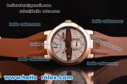 Ulysse Nardin Executive Dual Time ST22 Automatic Run 6@Sec Rose Gold Case with White Dial and Brown Rubber Strap 7750 Coating