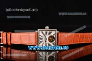 Minorva Swiss Tourbillon Manual Winding Steel Case with White Dial Orange Leather Strap and Black Roman Numeral Markers