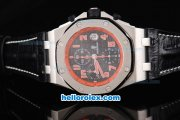 Audemars Piguet Royal Oak Chronograph Swiss Valjoux 7750 Automatic Movement Black Grid Dial with Red Number Markers