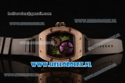 Richard Mille RM19-02 Tourbillon Fleur 9015 Auto Rose Gold Case with Black Dial and Black Rubber Strap
