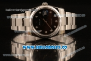 Rolex Datejust Clone Rolex 3135 Automatic Stainless Steel Case/Bracelet with Black Dial and Diamonds Markers - 1:1 Original (MARK F)