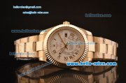 Rolex Sky-Dweller Asia 2813 Automatic Gold Case/Strap with Grey Dial and Roman Numeral Hour Markers