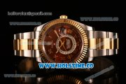 Rolex Sky-Dweller Asia Automatic Two Tone Case/Bracelet with Roman Numeral Markers and Brown Dial
