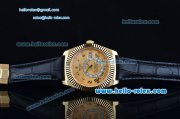 Rolex Sky-Dweller Asia 2813 Automatic Gold Case with Black Leather Strap and Yellow Dial